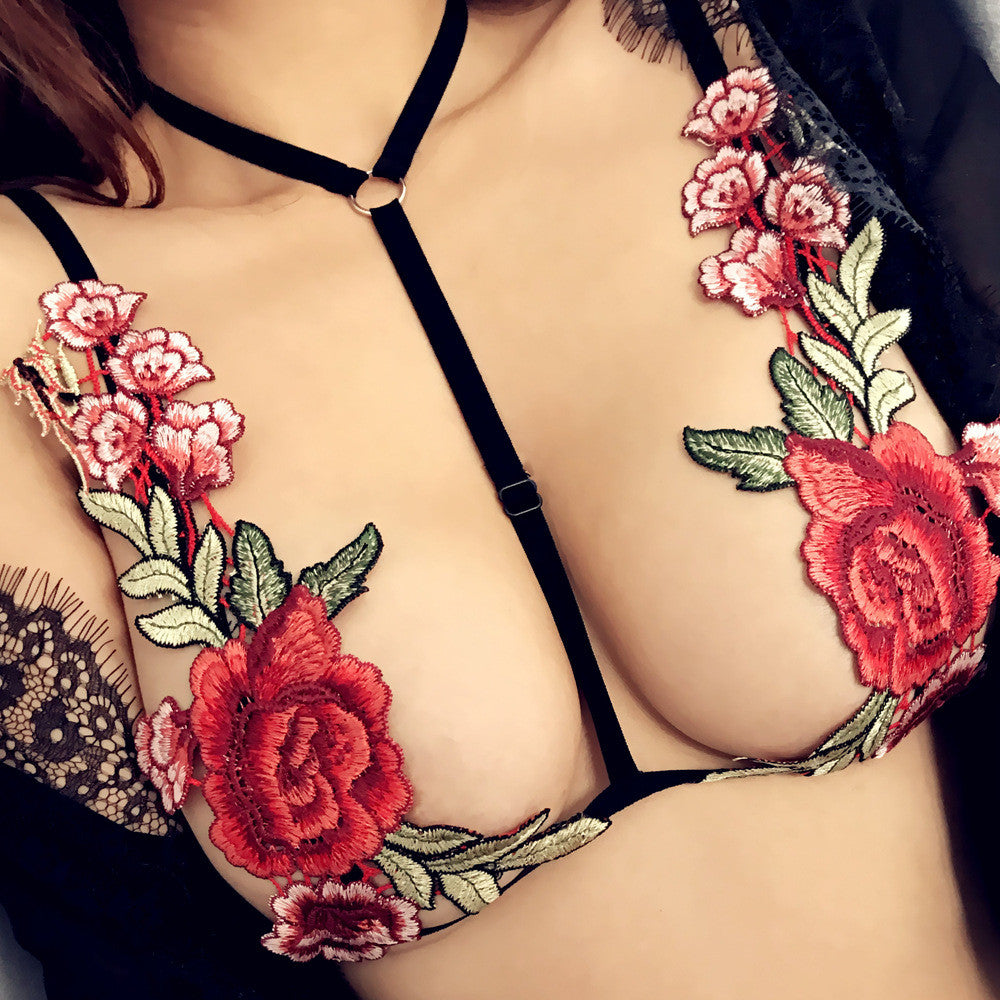 Sexy Bandage Embroidery Rose Bra
