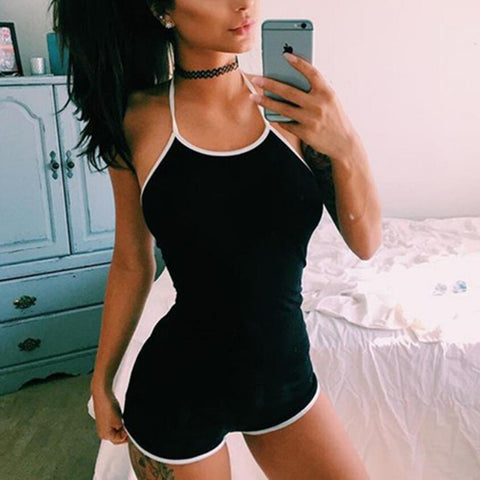 Sexy Front Halter Jumpsuit T-shirt Top