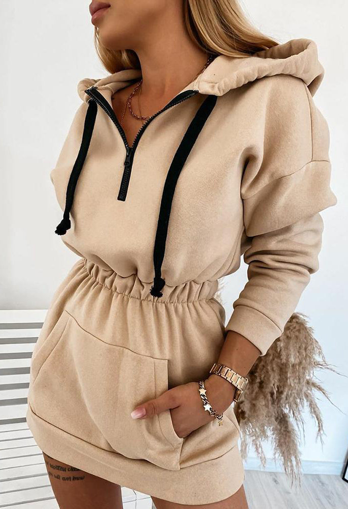 Solid Long Sleeve Loose Hoodies Dress