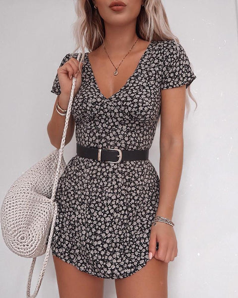 Short Sleeve Floral Print V-Neck Dress
