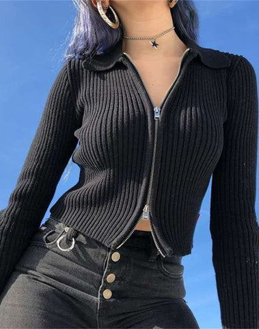 Loose Long Ribbed Zipper Sweater