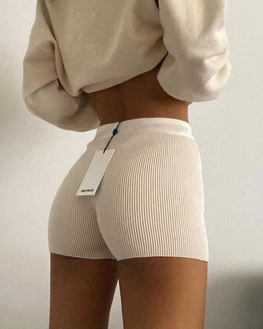 Knitted High Waist Elastic Skinny Shorts