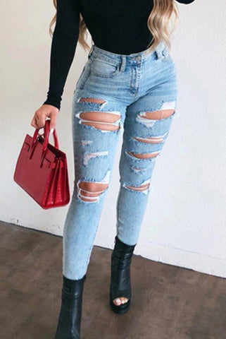 Skinny Ripped Elasticity Jean Pants