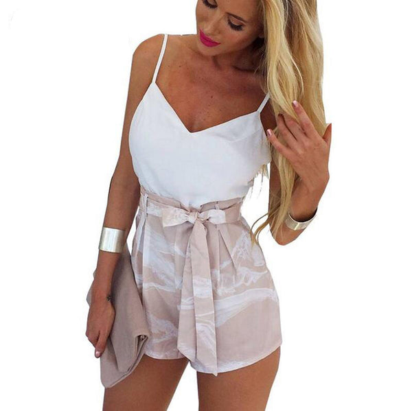 Sexy Backless Women Tops Vest And Shorts Two-Piece Set