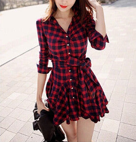 LONG-SLEEVED PLAID DRESS