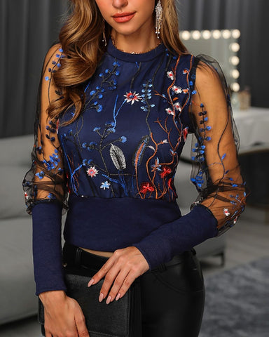 Embroidery Floral Sheer Mesh Shirt Blouse Top