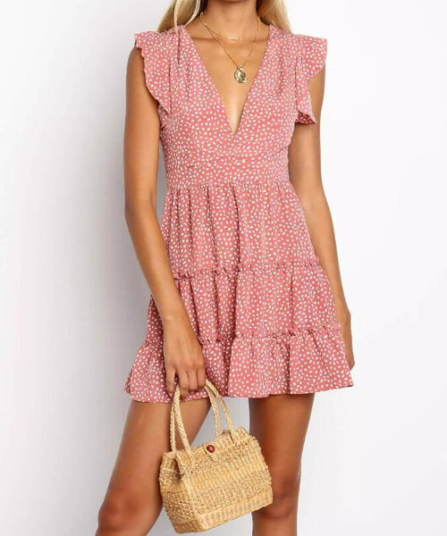 V-neck Print Dot Frill Dress