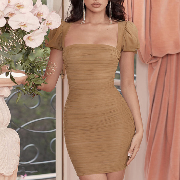 Short Sleeve Sexy Solid Color Dress