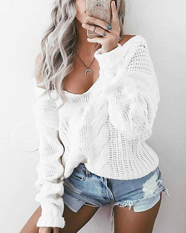 Solid V-Neck Long Sleeve Sweater Top
