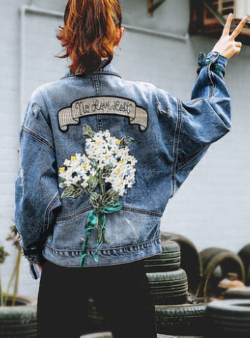 Embroidery Flower Loose Denim Jacket