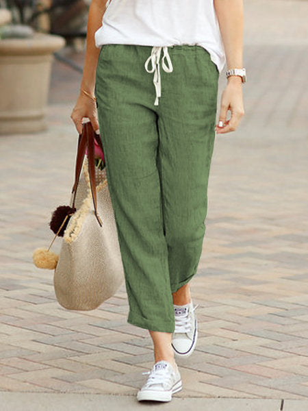 Leisure Solid Colour Loose Elastic Pants