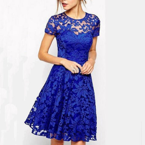 Round Neck Short Sleeve Lace Dress