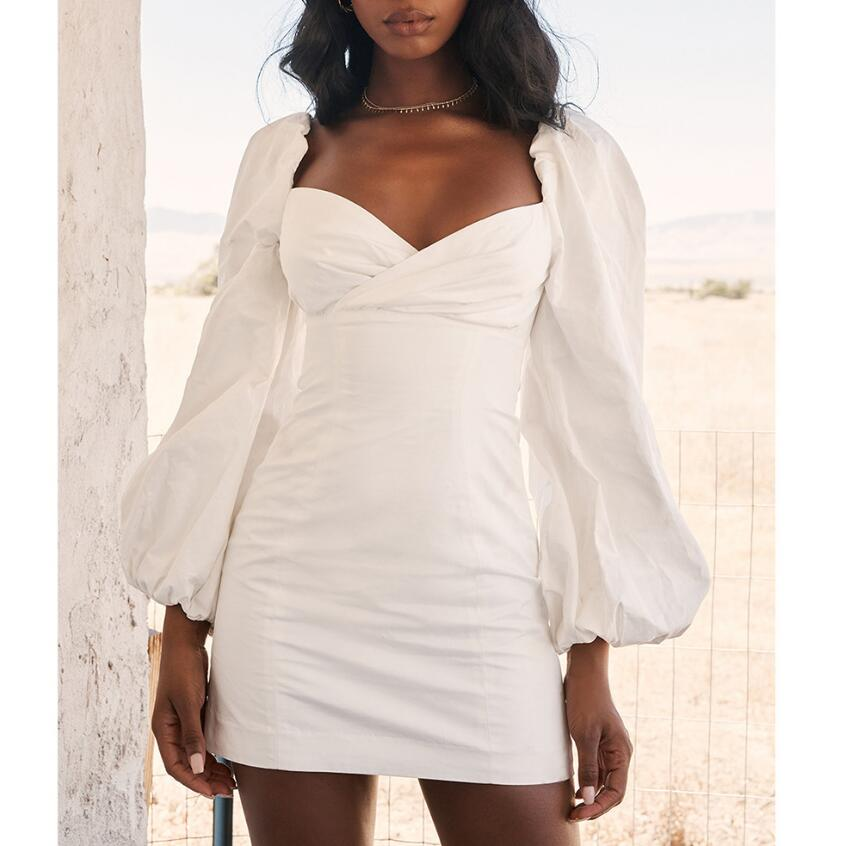 Womens Sexy V-Neck White Dress