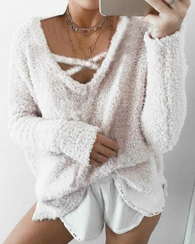 Loose Knitting V-neck Sweater Top