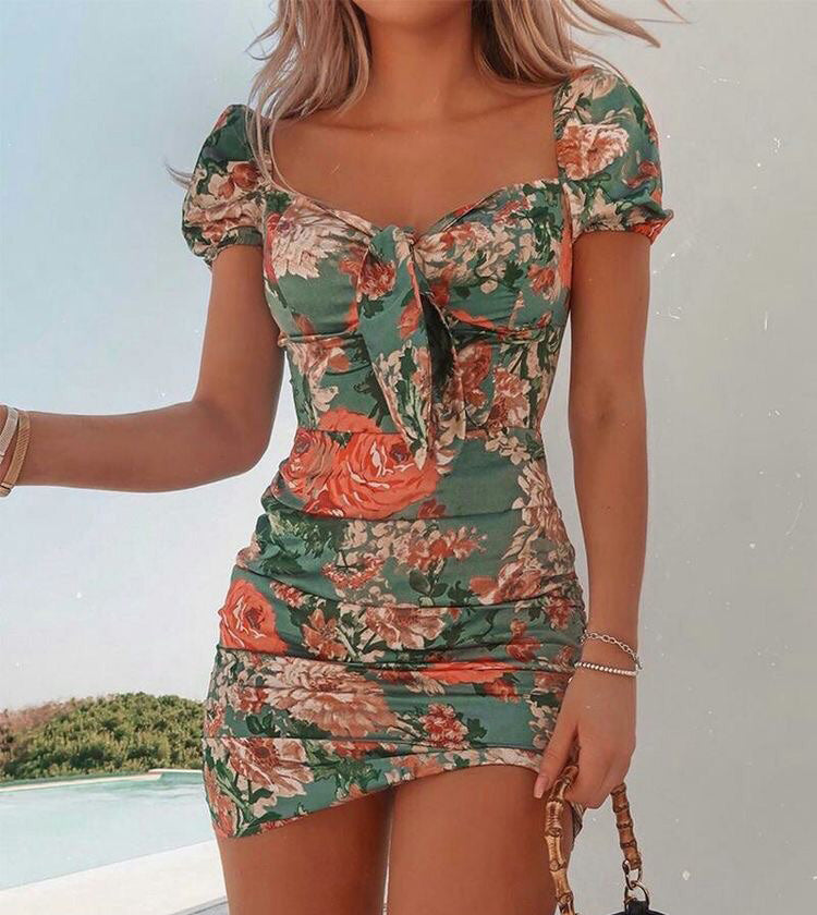 Womens Print Short Sleeve Bodycon Dress