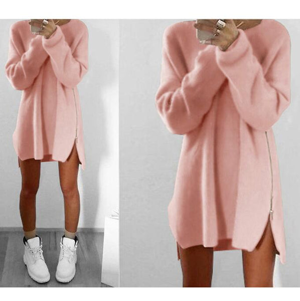 Fashion Solid Color Zipper Sweater Dress