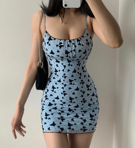 Women's Sexy Sling Print Butterfly Dress