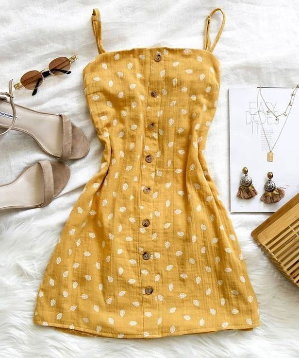 Printed Sling Backless Bow Dress