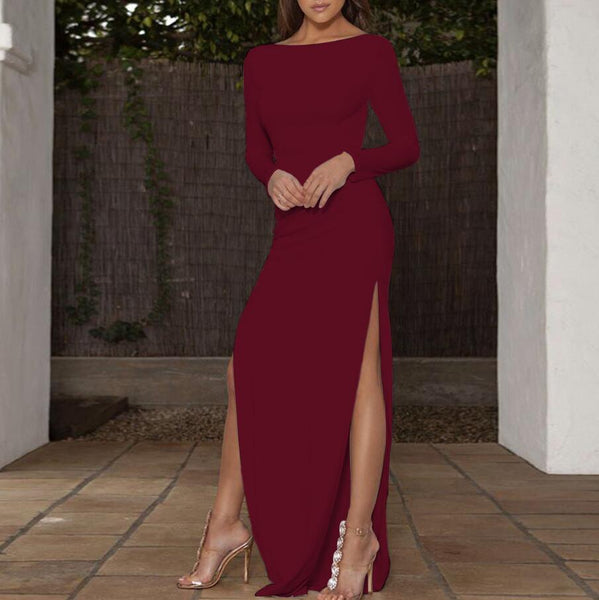 Sexy Backless Long Sleeved Dress