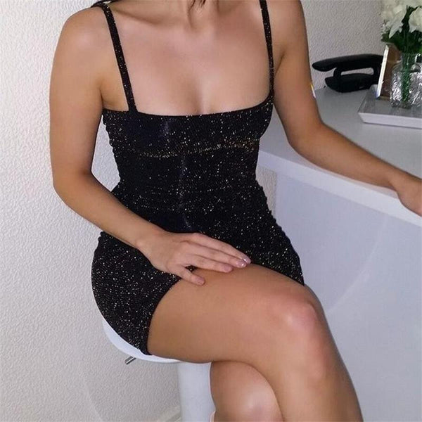 Sexy Sleeveless Glitter Mini Dress