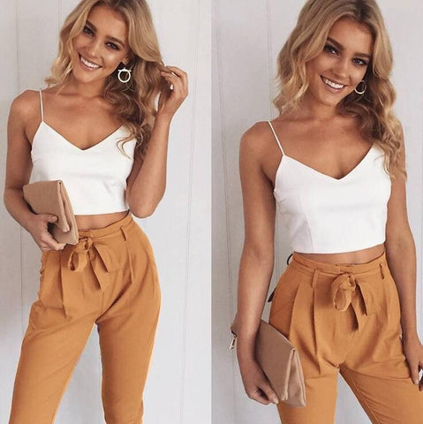 Sexy Women V-neck Tops And Trousers Two-Piece Set