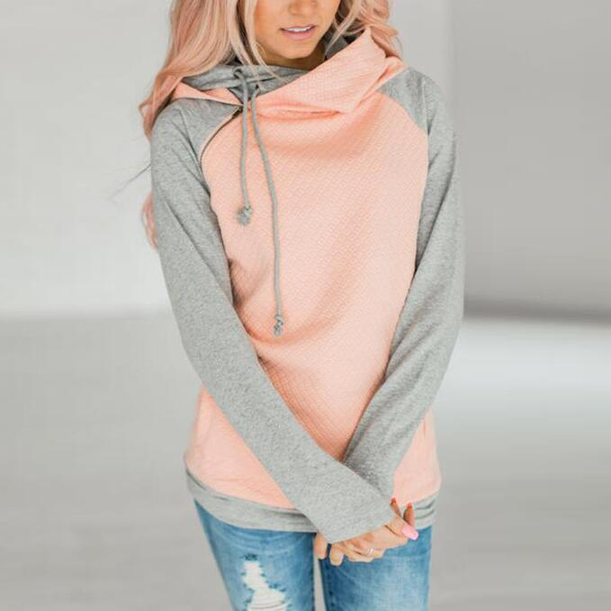 Fashion Long Sleeves Hooded Zipper Tops Sweater