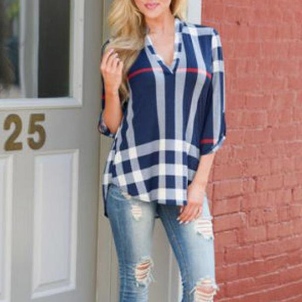 Womens Fashion Plaid V-Neck Top T-Shirt