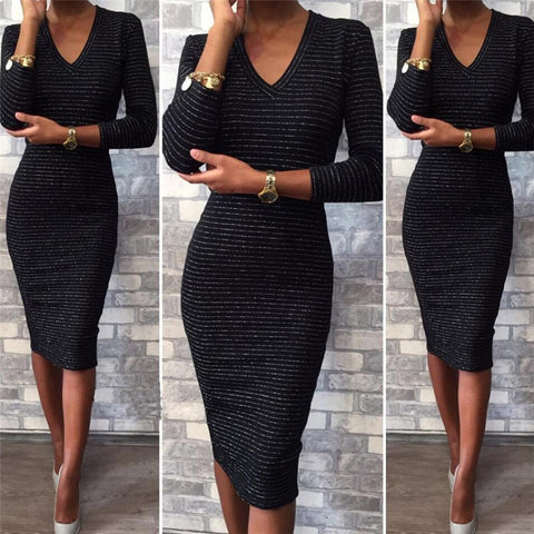 Fashion Black V Collar Long Sleeve Hip Length Dress