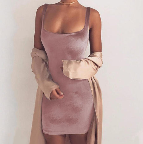 Sexy Sleeveless Solid Color Mini Dress