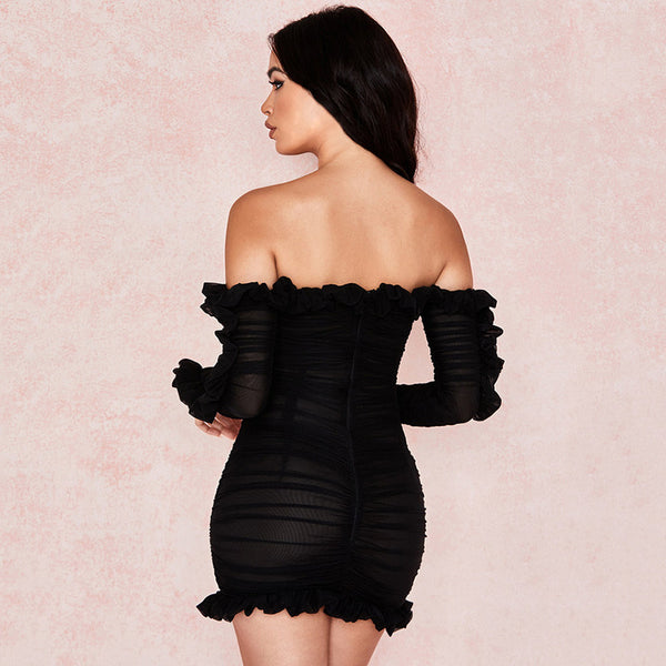 Ruffled Long Sleeve Deep V-Neck Lace Dress