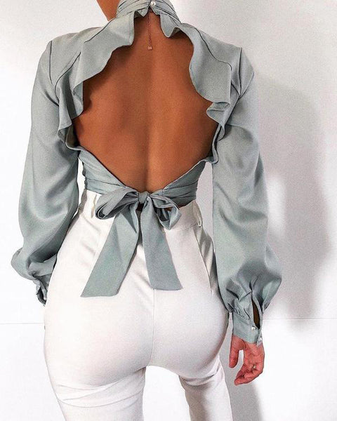 Sexy Backless High Collar Top