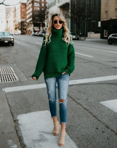 Fashion Womens High Collar Green Knit Sweater