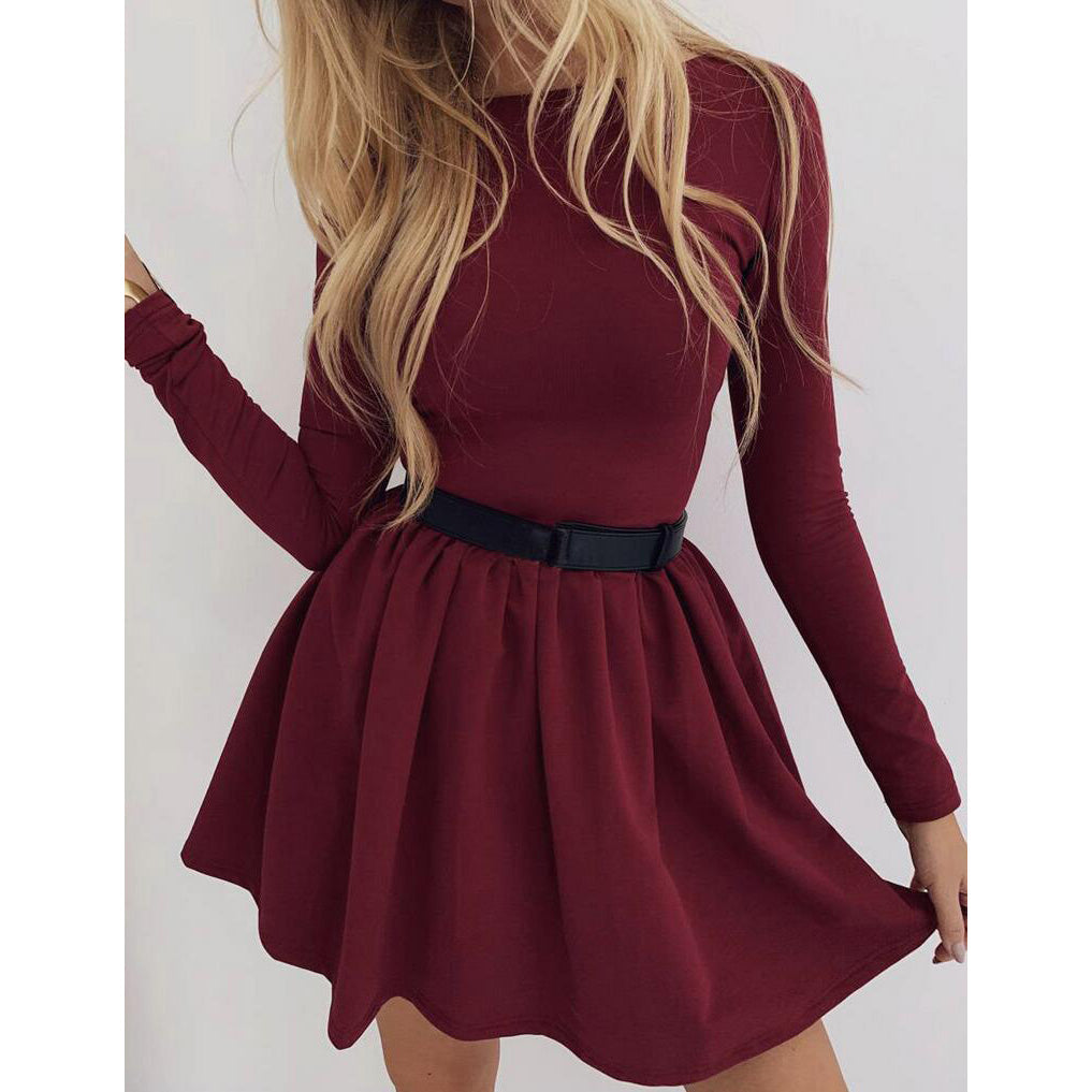 Women Round Neck Long Sleeve Dress
