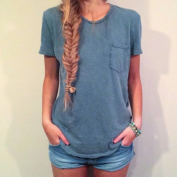 Fashion Solid color Shirt Short Sleeve Casual T-shirt Blouse Top