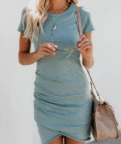 Womens Irregular Short Sleeve Dress