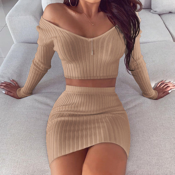 Sexy Long Sleeves V-neck Two-Piece Set