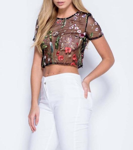 Embroidery Flower Sexy Short Sleeve T-Shirt Top