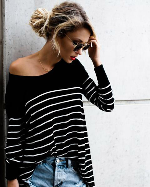 Fashion Round Neck Stripes Stitching Loose Long-Sleeved Shirt Top