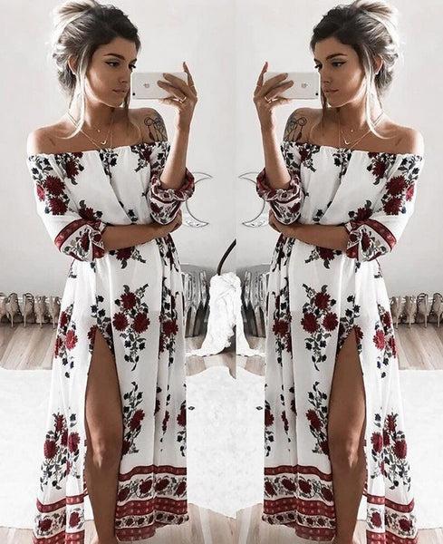 Sexy Loose Dew Shoulder Printed Dress