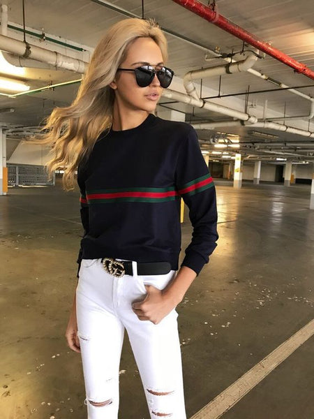 Fashion Long-Sleeved Round Neck Sweater Top