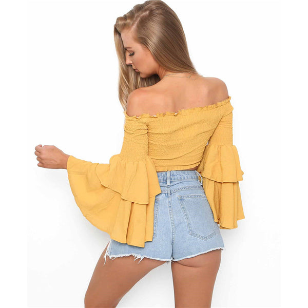Sexy Strapless Long Sleeves Blouse Shirt Top