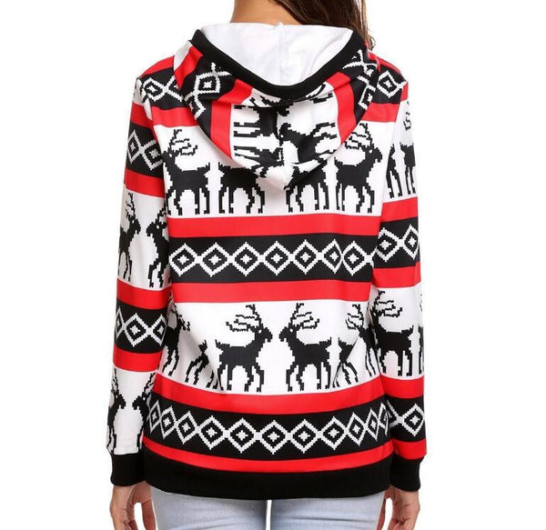 Fashion Print Hooded Long-Sleeved Top Sweater