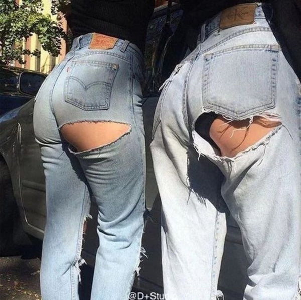 Fashion Sexy High Waist Hole Straight Loose Cowboy Pants