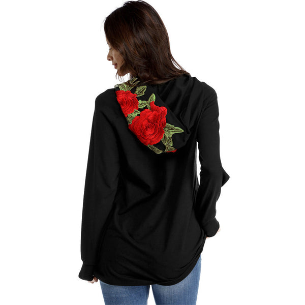 Fashion Embroidery Hooded Long-Sleeved Sweater Top