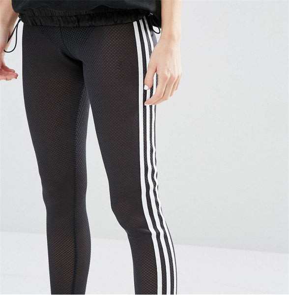 Sexy Womens Striped See-Through Leggings