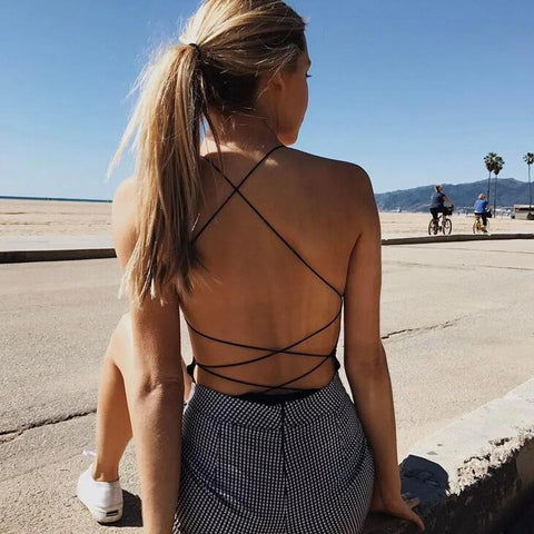 Sexy Cross Backless Bodysuit Rompers jumpsuit