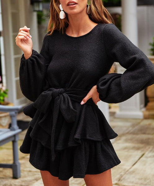 Round Neck Lotus Leaf Long Sleeve Dress