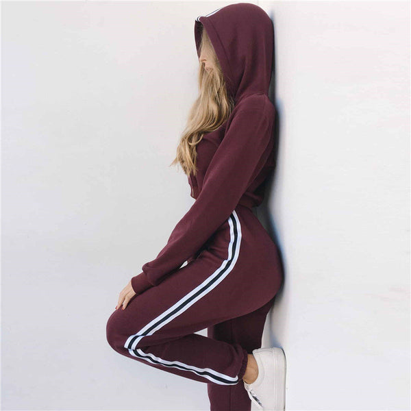 Fashion Hooded Solid Color Two Pieces Set