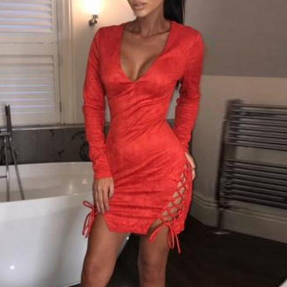 Sexy V-neck Bandage Long Sleeve Solid Color Dress