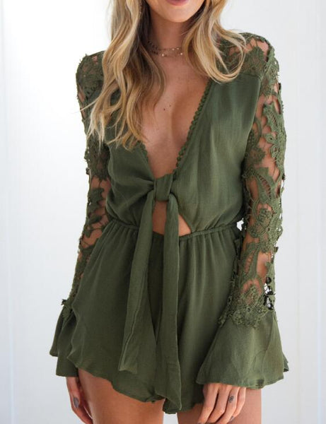 Sexy V-Neck Lace Long Sleeve Rompers Jumpsuits